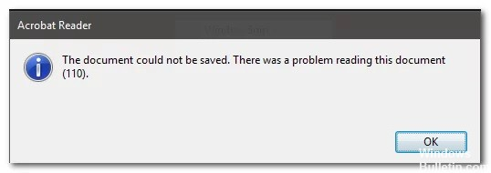"""How to Resolve Adobe Reader Error 110 """"The Document Could not Be Saved"""""""